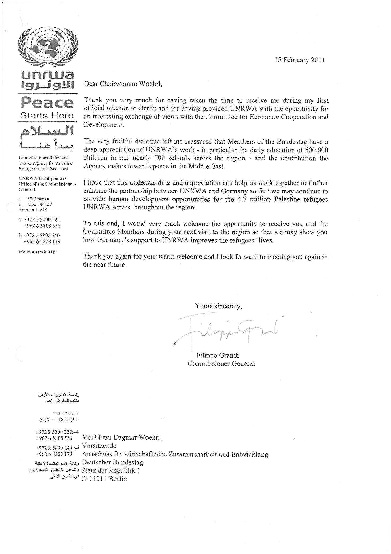 Schreiben des UNRWA. Dagmar G. Wöhrl - 25. Februar 2011