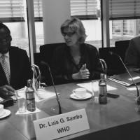 AWZ-Vorsitzende Dagmar Wöhrl im Gespräch mit Dr. Sambo, WHO-Regionaldirektor für Afrika