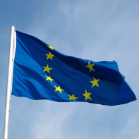 Flag of Europe over a blue sky