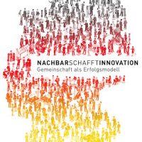 """Offizielles Logo des Wettbewerbs """"Ausgezeichnete Orte im Land der Ideen"""" 2016 mit dem Jahresthema """"NachbarschafftInnovation – Gemeinschaft als Erfolgsmodell"""""""